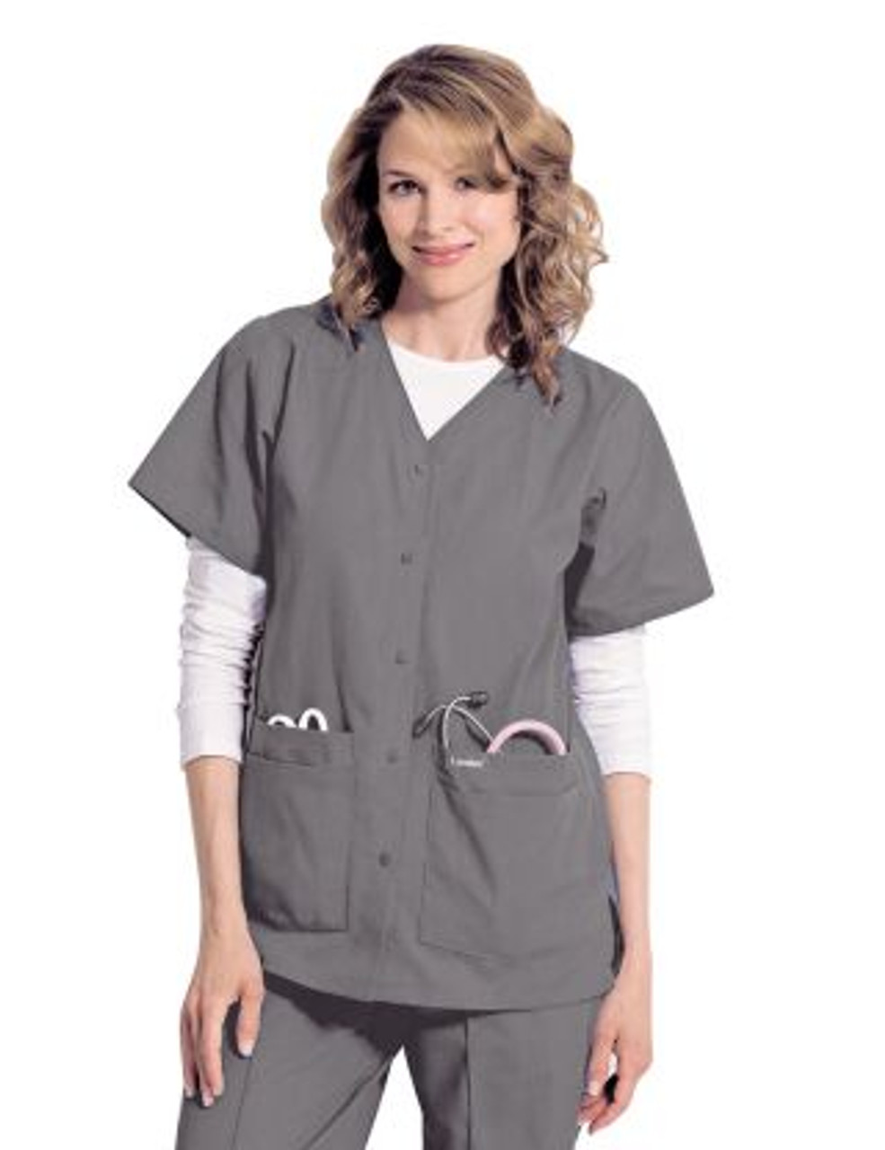 Easy on and off! Perfect scrub top for layering.