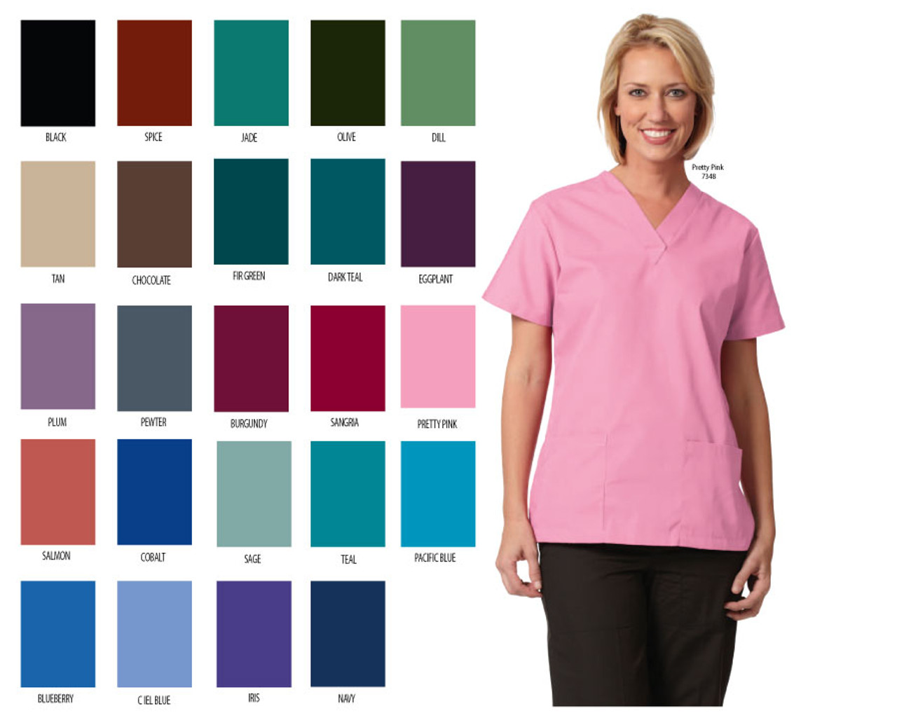 Medical scrub tunic for women