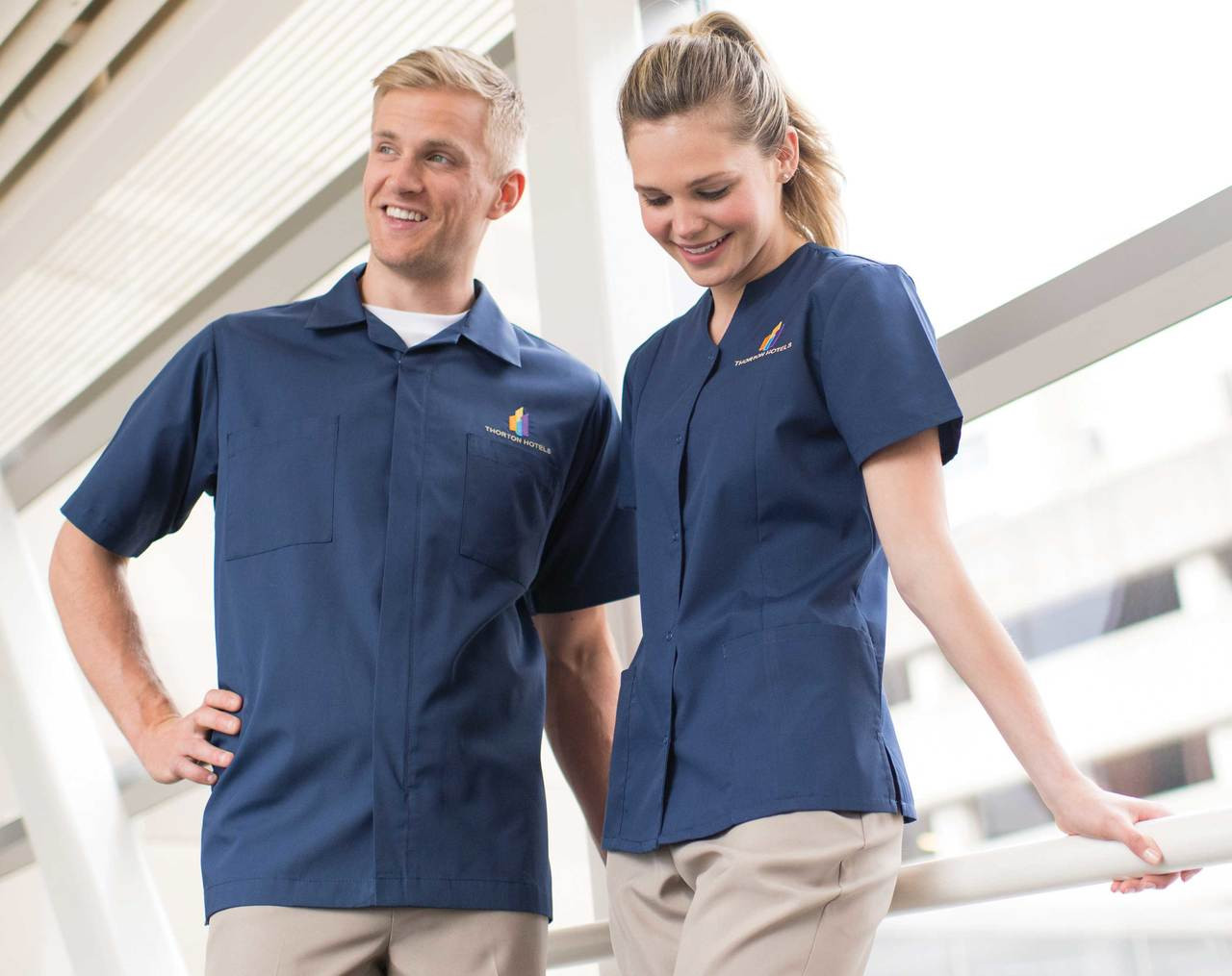 Full zipper shirt for active employees like housekeepers.
