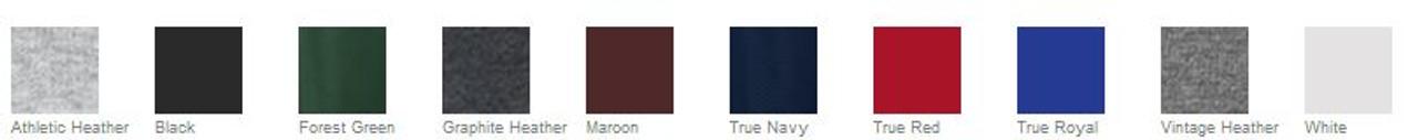 Color options for 1/4 zip sweatshirt