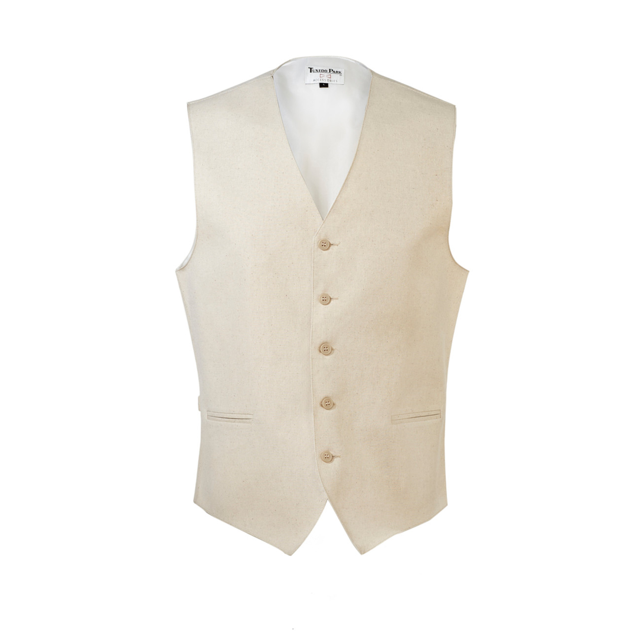 Beige uniform vest.