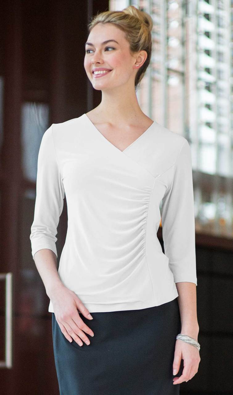 Ruched 3/4 Sleeve Stretchy Blouse