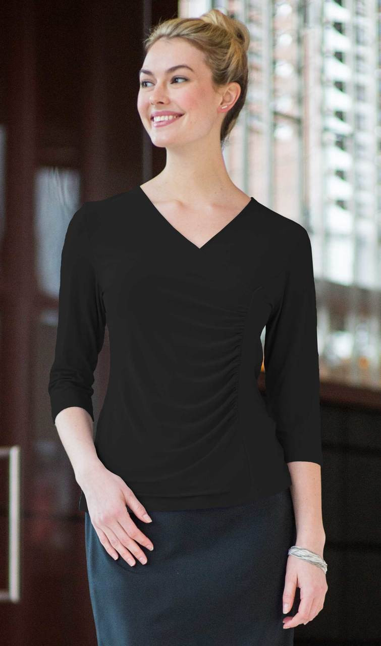 Ruched 3/4 Sleeve Stretchy Blouse CLOSEOUT No Returns