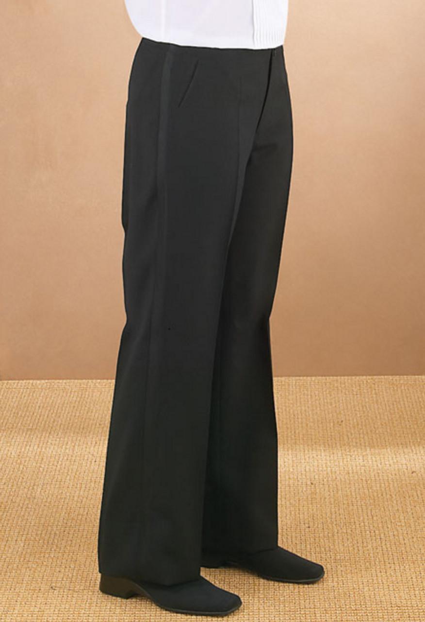 Flat Front pants with leg braid