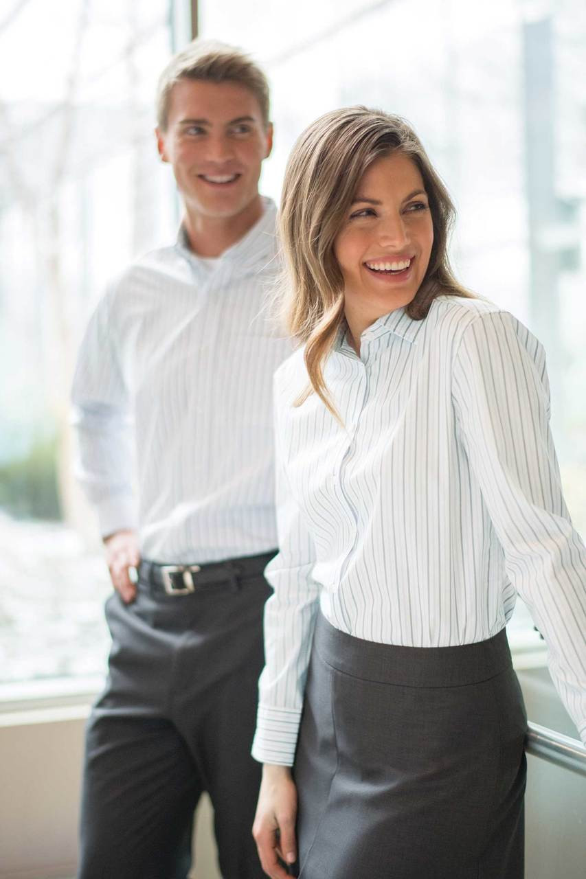 Edwards Garment Double Stripe Dress Shirt