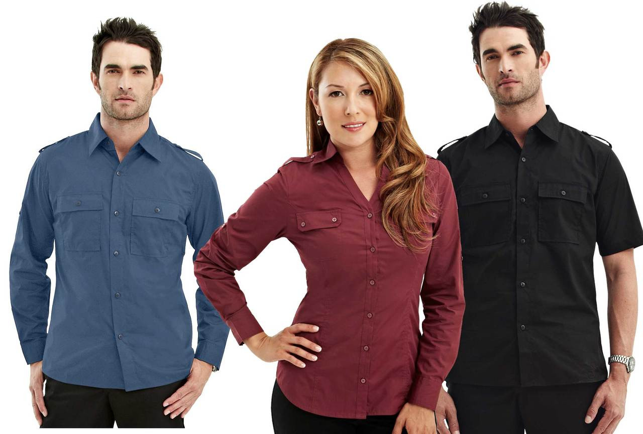 Double Pocket Urban Roll Sleeve Uniform Shirt