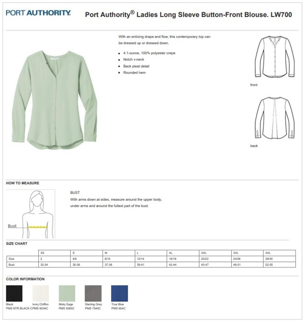 Long Sleeve Crepe Uniform Blouse