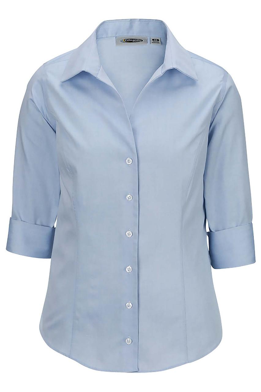 Ladies 3/4 Sleeve Wrinkle Free Oxford CLOSEOUT No Return