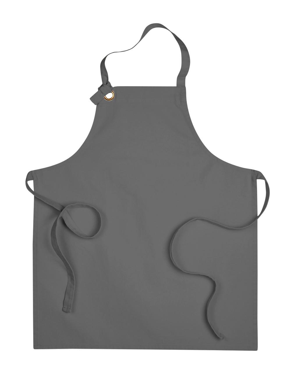 Dark Grey Grommet Bib Apron