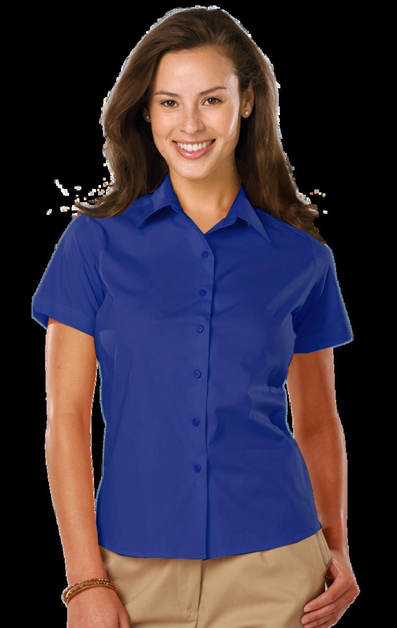 Ladies Short Sleeve Stretch Poplin by Blue Generation