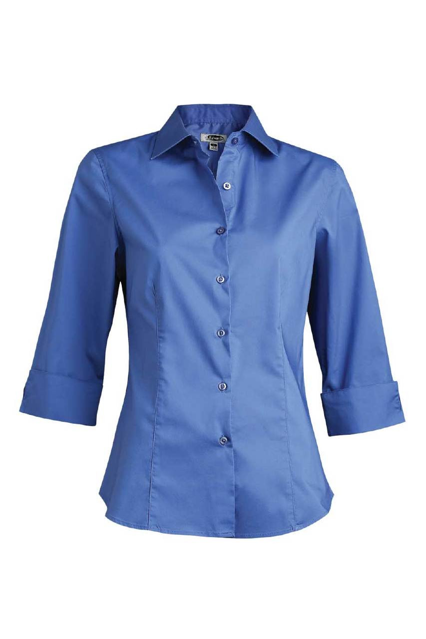 Edwards Garment Womens Matching Buttons Short Sleeve Stretch Blouse