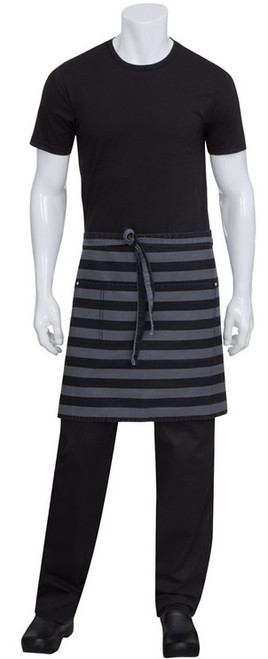 Striped half bistro length apron with cell phone pocket