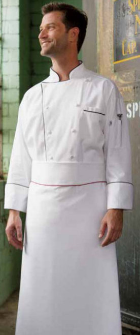 Piping adds some visual appeal to this chef coat