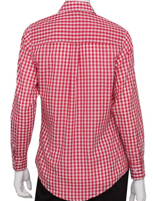 Red gingham checkered uniform shirt