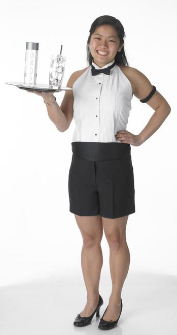 Halter tuxedo shirt for women.