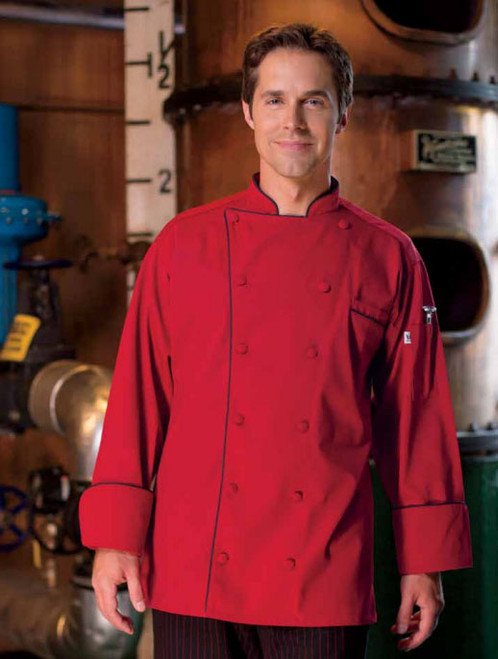 Red with black piping chef coat