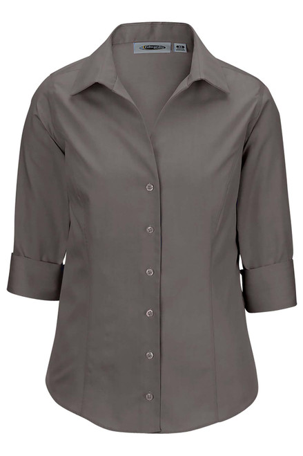 Ladies 3/4 Sleeve Wrinkle Free Oxford CLOSEOUT No Return