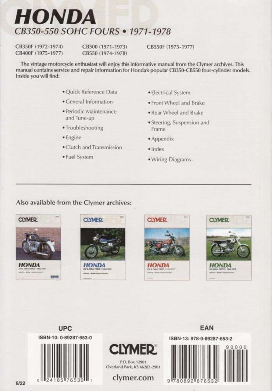 honda cb350f, cb400f, cb500, cb550, cb550f sohc fours 1971 - 1978  workshop