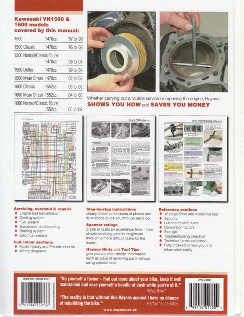 Kawasaki Vulcan 1500 & 1600 1987 - 2008 Workshop Manual on