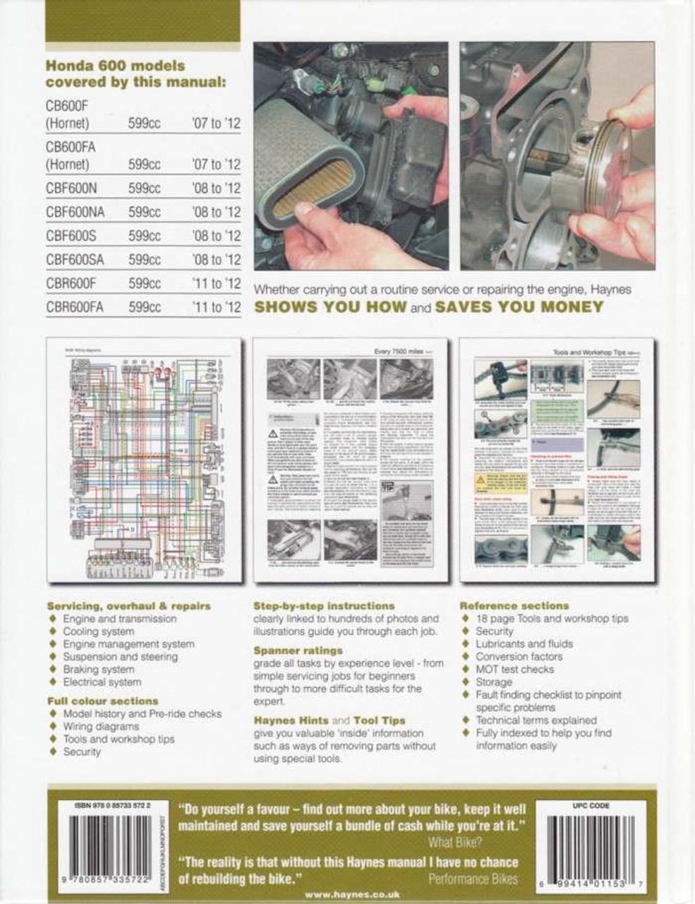 Enjoyable Honda Cb600F Hornet Cbf600 Cbr600F 2007 2012 Workshop Manual Wiring 101 Cranwise Assnl