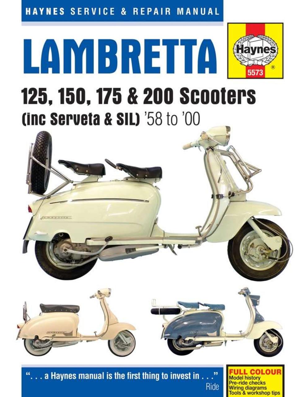 Lambretta 125, 150, 175 & 200 Scooters 1958 - 2000 Workshop Manual (inc  Serveta & SIL)