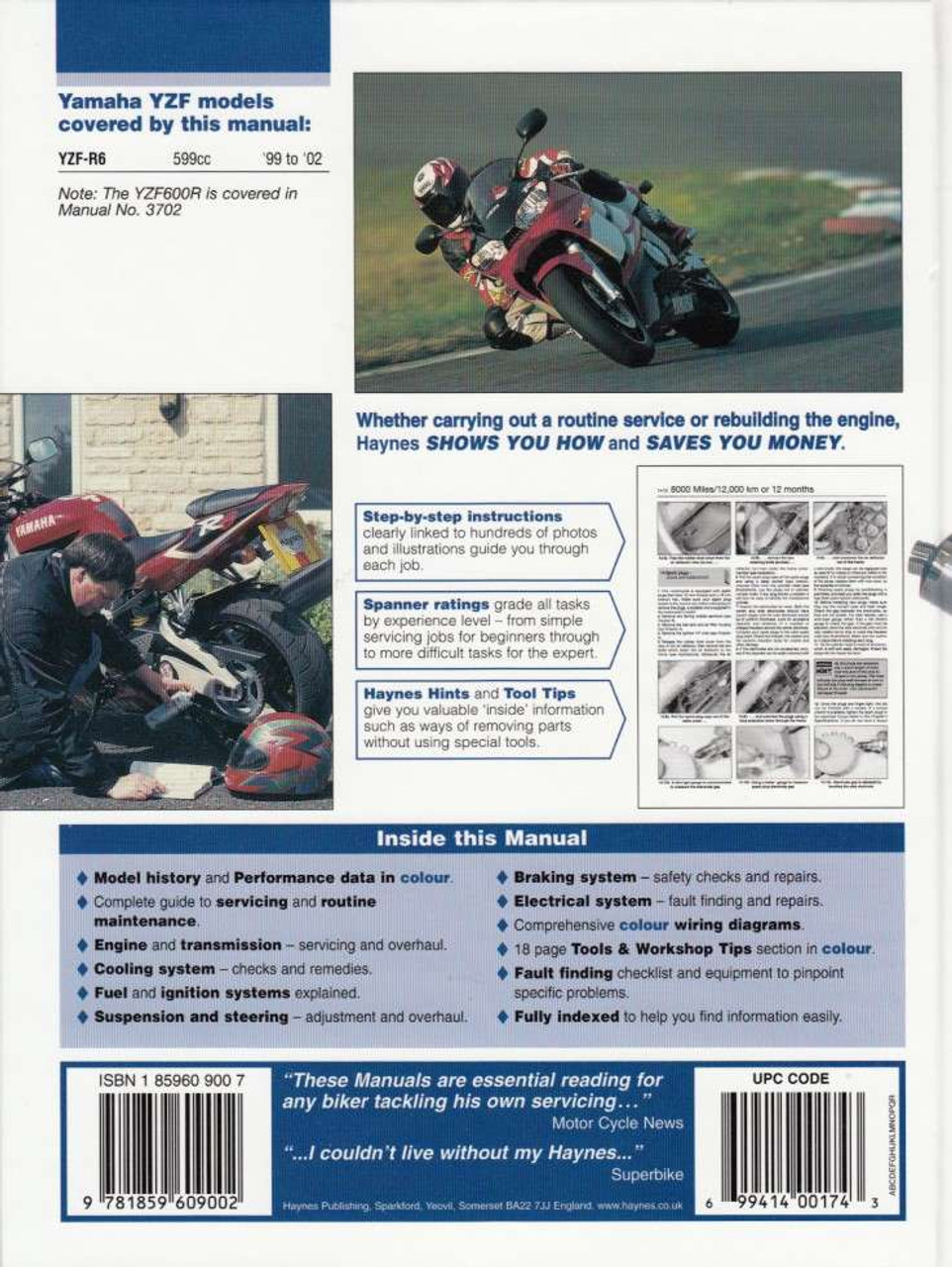 Yamaha Yzf R6 Yzf R6 600cc 1999 2002 Haynes Workshop Manual Service Repair Archives Midweek Com