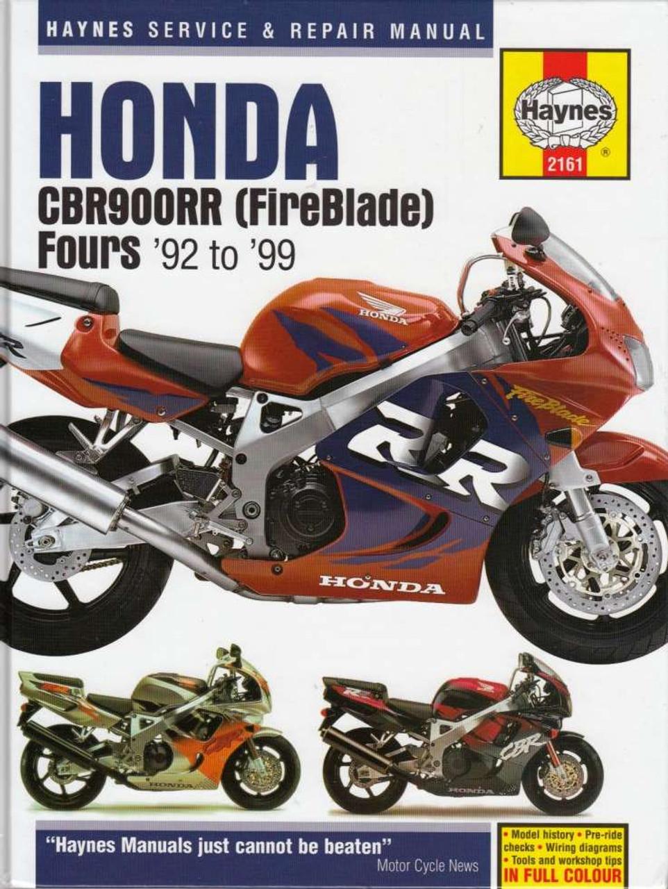 honda cbr900rr fireblade fours 1992 1999 workshop manual  92 cbr900rr wiring diagram #8