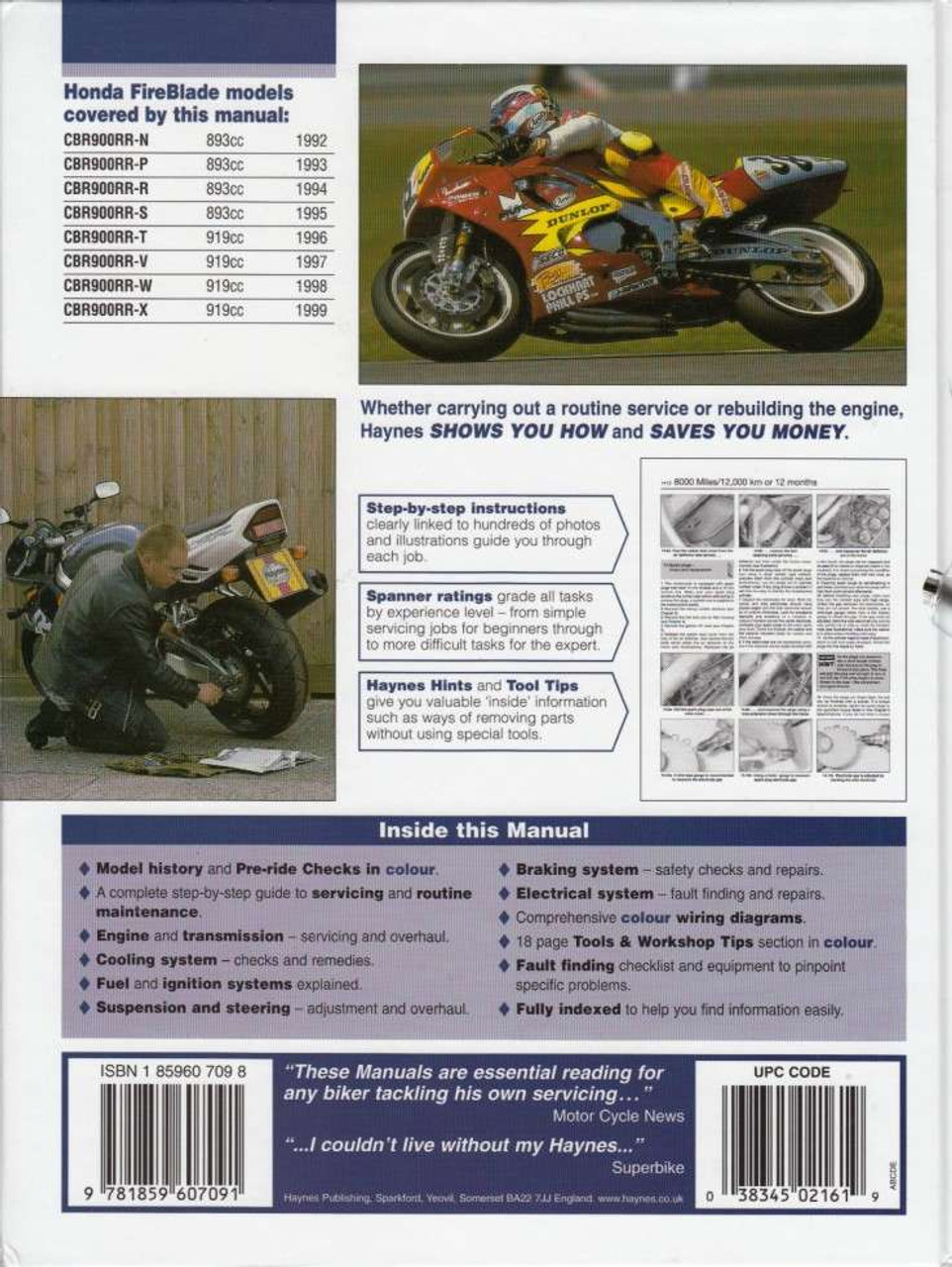 honda cbr900rr fireblade fours 1992 - 1999 workshop manual back cover