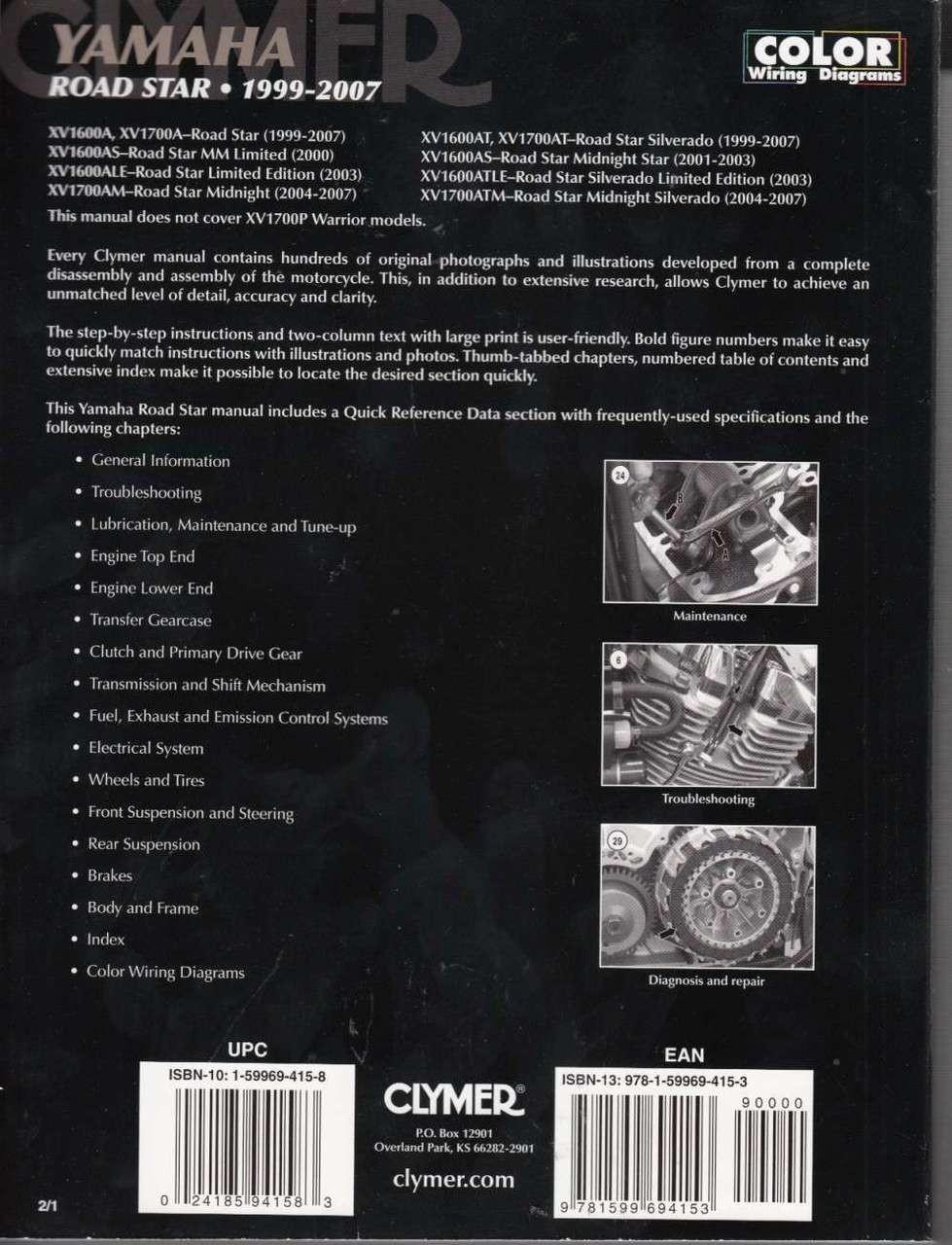 Super Yamaha Road Star 1999 2007 Clymer Workshop Manual Wiring 101 Akebwellnesstrialsorg