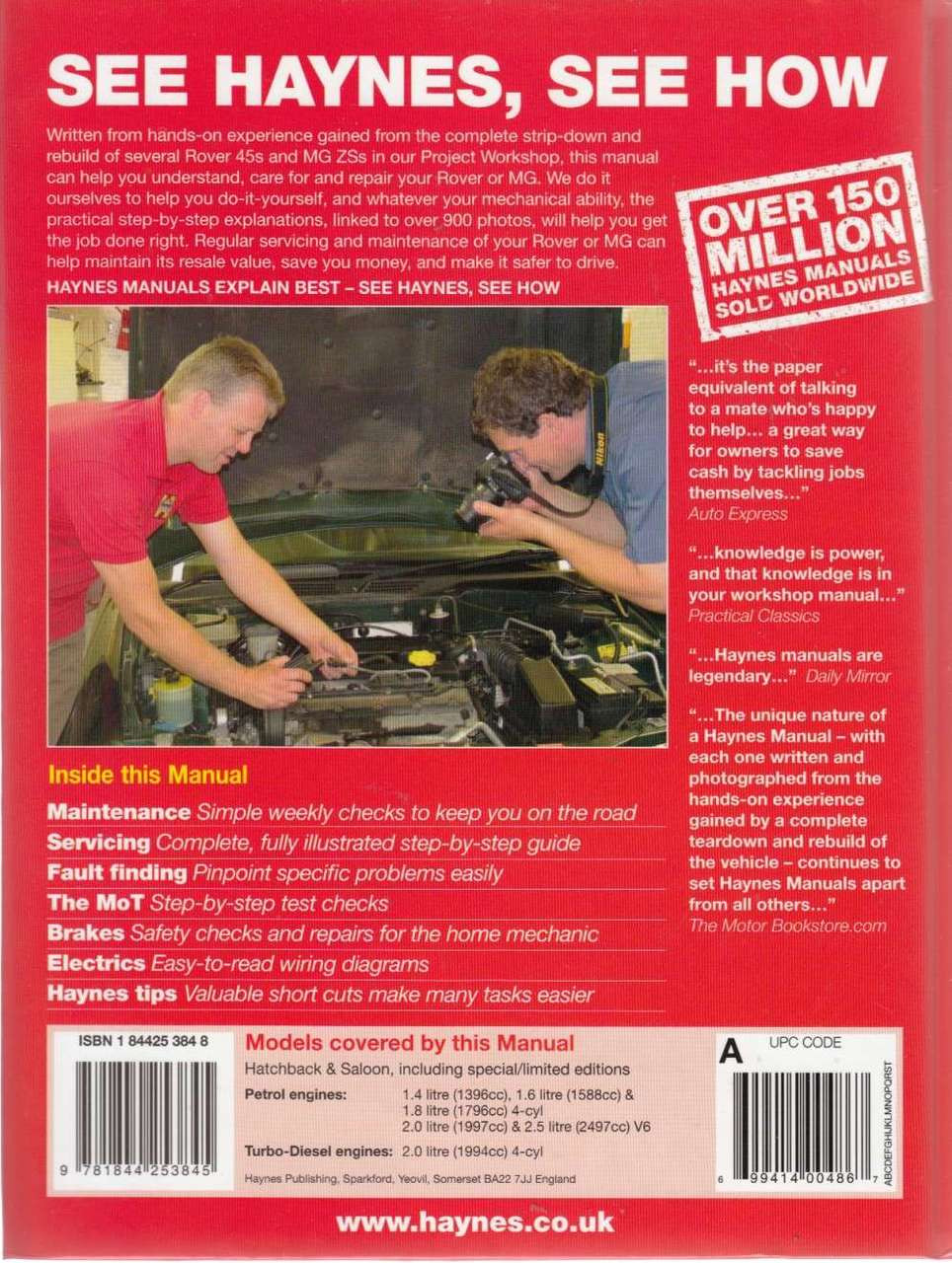rover 45 & mg zs repair manual back cover