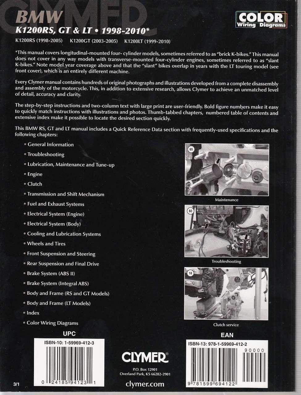 BMW K1200RS, K1200GT and K1200LT 1998 - 2010 Workshop Manual
