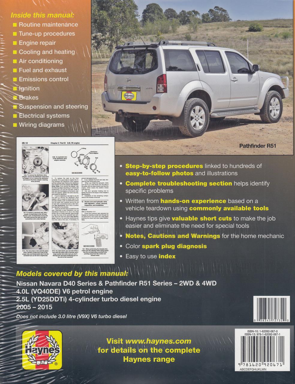 Nissan Navara, Pathfinder D40 & R51 Petrol, sel 2005 - 2015 Haynes on