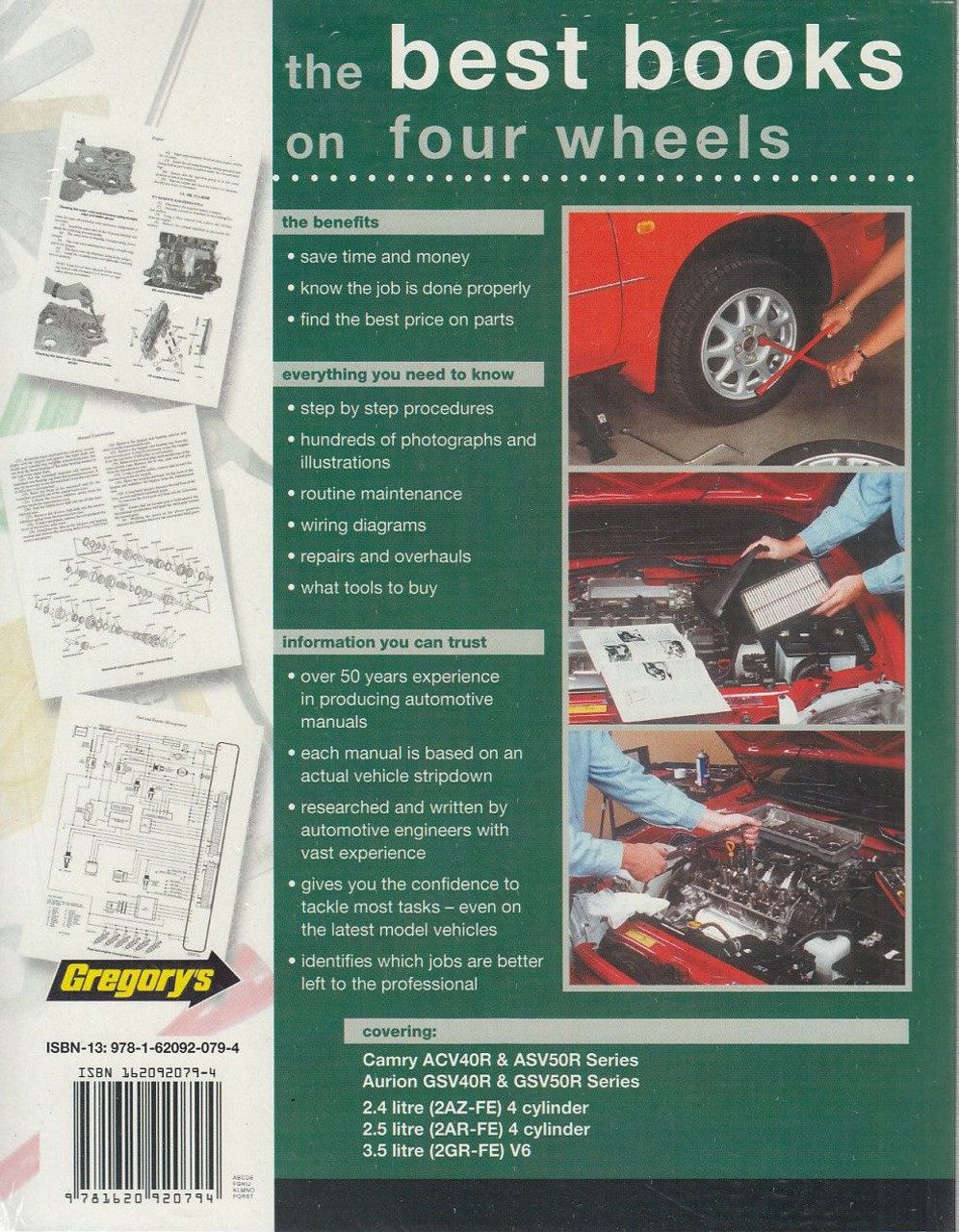 toyota camry & aurion manual back cover