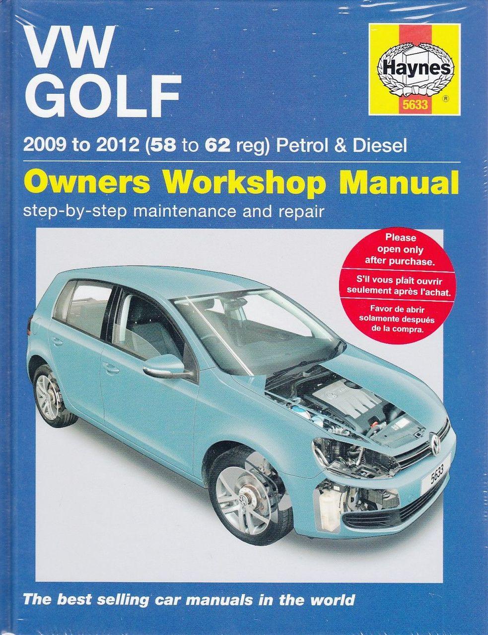 VW Golf MK VI Petrol 1 4L, Turbo Diesel 1 6L, 2 0L 2009 - 2012 Workshop  Manual
