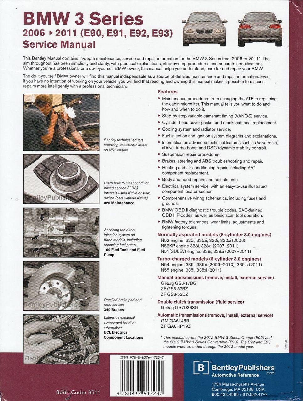 ... BMW 3 Series E90 E91 E92 E93 2006 - 2011 Workshop Manual Back Cover ...