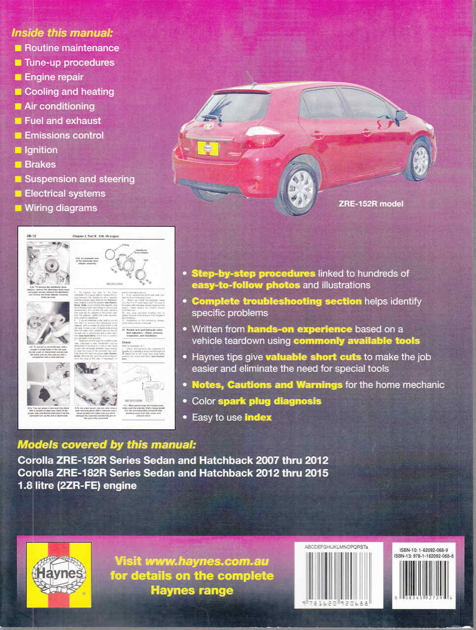 Toyota Corolla 1 8 litre engine ZRE-152R & ZRE-182R 2007 - 2015 Workshop  Manual