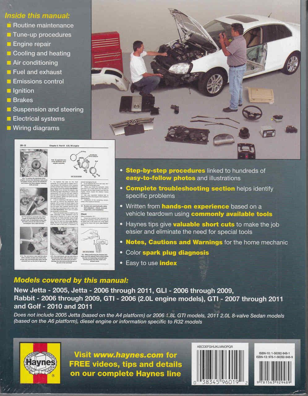 VW Jetta, Rabbit, GTi & Golf 2006 - 2011 Repair Manual