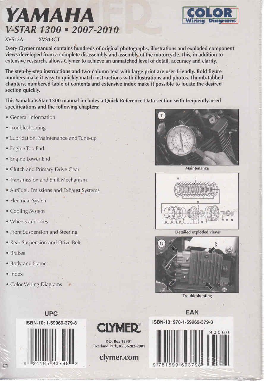 yamaha v-star 1300 2007 - 2010 workshop manual (9781599693798) - back