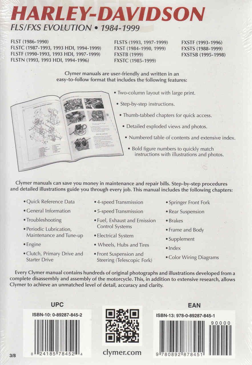 Harley-Davidson FLS / CXS Evolution 1984 - 1999 Workshop Manual on