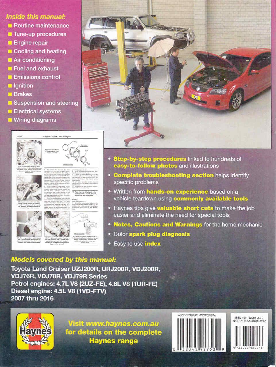 toyota land cruiser 76, 78, 79 and 200 series petrol \u0026 diesel 2007 2016 workshop manual