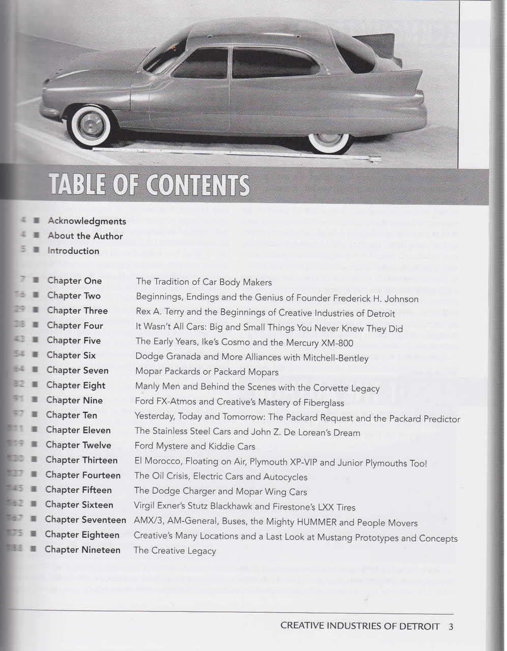 CREATIVE INDUSTRIES BOOK DETROIT CAR BUILDER CONCEPT SECRET SHOW DIXON