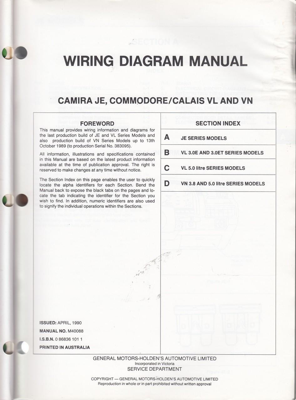 holden camira, commodore, calais je vl vn series wiring diagram manuaVl Commodore Wiring Diagram #15