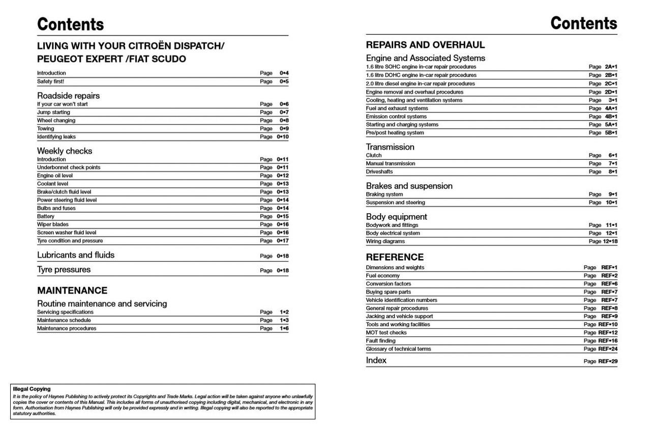 citroen dispatch, peugeot expert & fiat scudo diesel 56 to 16 2007 - 2016  workshop manual