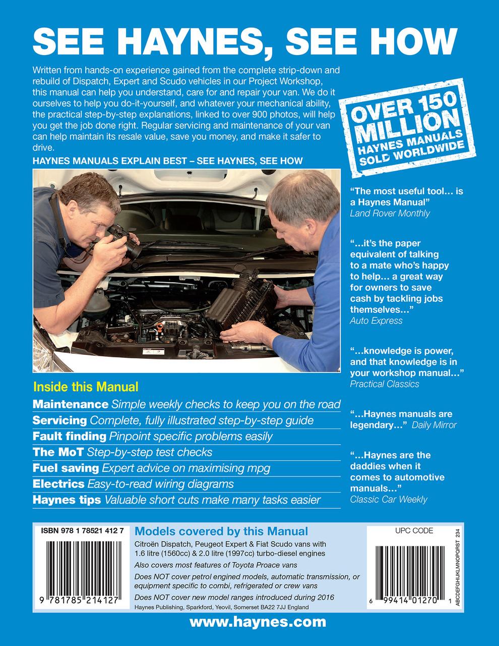 Fiat Scudo Diesel 07-16 Haynes Manual 6412