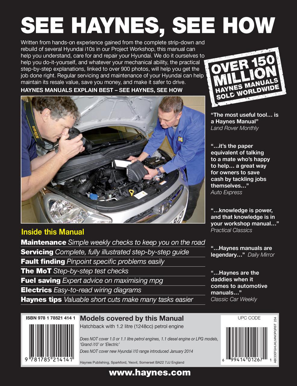 hyundai i10 2008 - 2013 58 to 63 petrol haynes workshop repair manual  (9781785214141)