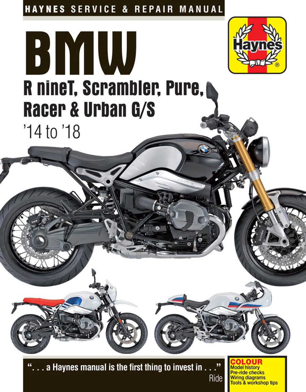 bmw r ninet, scrambler, pure, racer & urban g/s 2014 - 2018 workshop manual  (9781785214028)