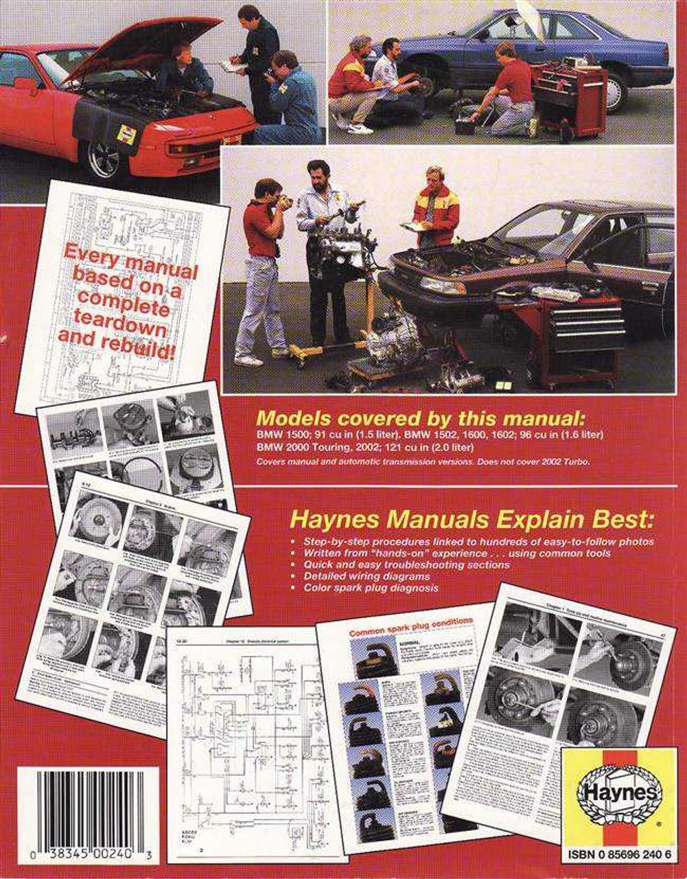Haynes Workshop Manuale BMW 1602 /& 2002 1959-1977 Riparazione 1500//1502//1600//2000
