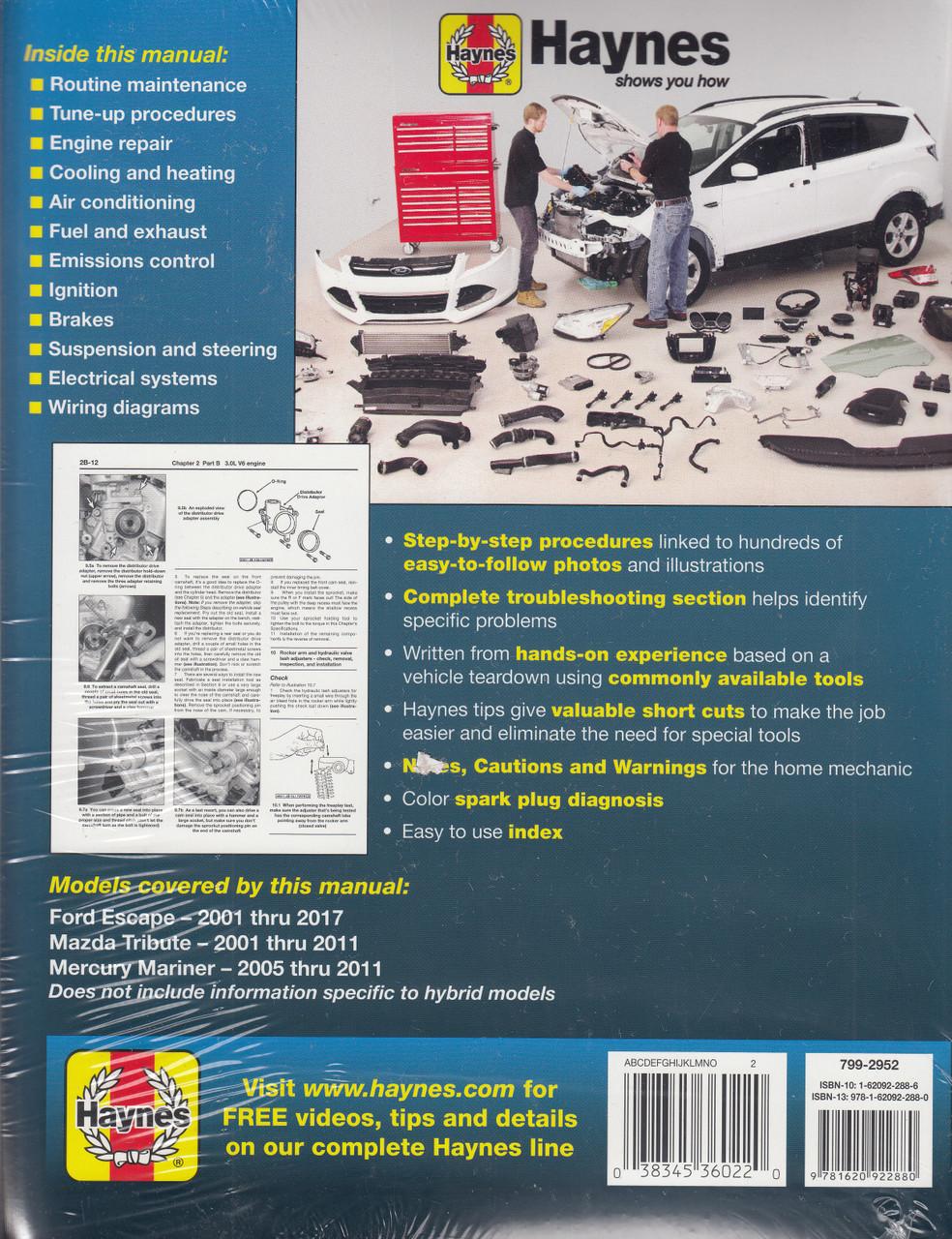 Haynes Workshop Manual Ford Escape Mazda Tribute Mercury Mariner 2001 2017 Auto Parts And Vehicles Car Truck Service Repair Manuals Magenta Cl
