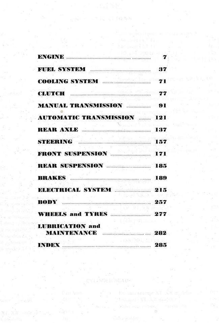 Ford Falcon 1960 - 1970 6 Cylinder Workshop Manual (XK, XL, XM, XP, XR, XT,  XW)