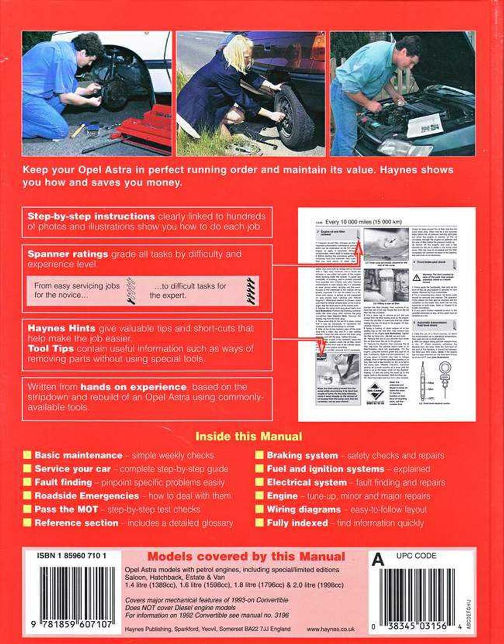 opel astra 2002 service manual